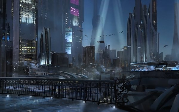 Sci Fi City Night Building Cyberpunk Cityscape HD Wallpaper | Background Image