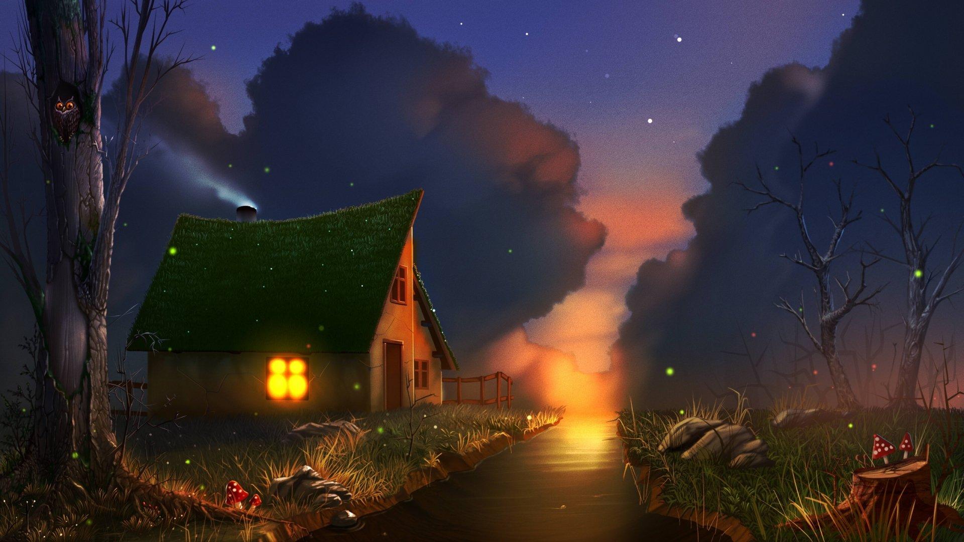 Fantasy - House  Cloud Night Stream Wallpaper