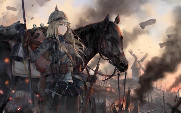 Anime Original Battlefield 1 Cheval Guerre Helmet Blonde Skirt Glove Pantyhose Fond d'écran HD | Image
