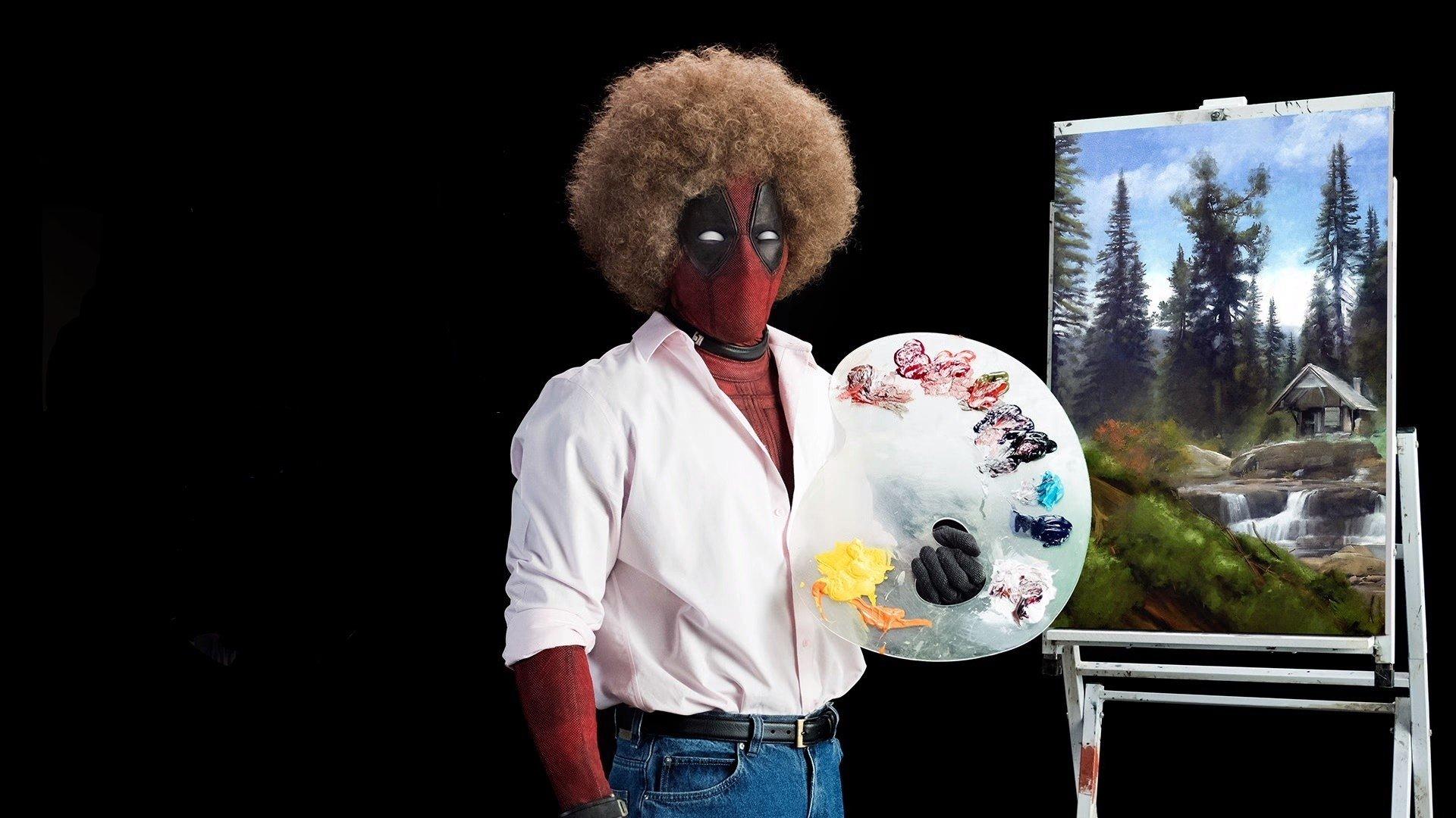 Movie - Deadpool 2  Bob Ross Deadpool Painting Ryan Reynolds Wallpaper