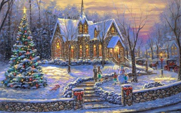Artístico Pintura Navidad Iglesia Snow Invierno Christmas Tree Fondo de pantalla HD | Fondo de Escritorio