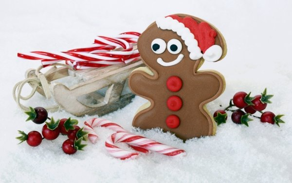 Holiday Christmas Cookie Gingerbread Candy Cane Sled HD Wallpaper   Background Image