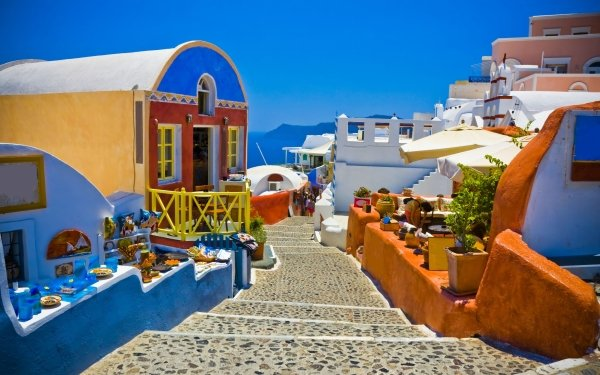 Man Made House Buildings Bright Colorful Santorini Greece HD Wallpaper | Background Image