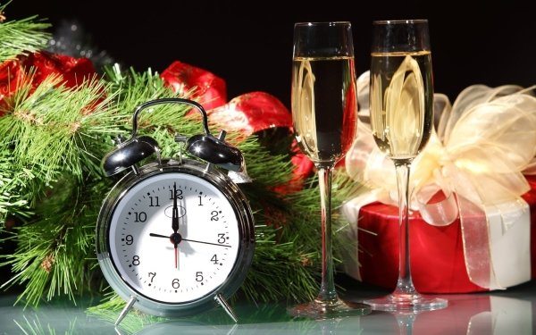 Holiday New Year Christmas Champagne Gift Clock HD Wallpaper   Background Image