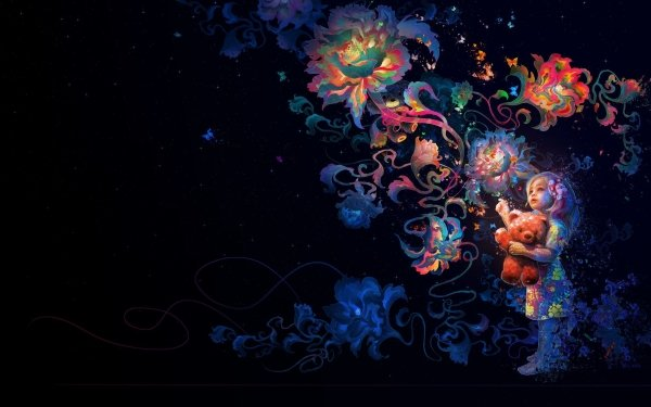 Artistic Child Little Girl Stuffed Animal Teddy Bear Flower Colors Colorful HD Wallpaper | Background Image