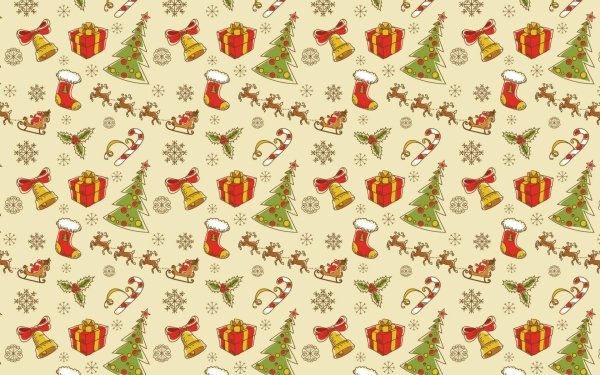 Holiday Christmas Pattern Bell Gift Tree Sled Christmas Tree HD Wallpaper   Background Image