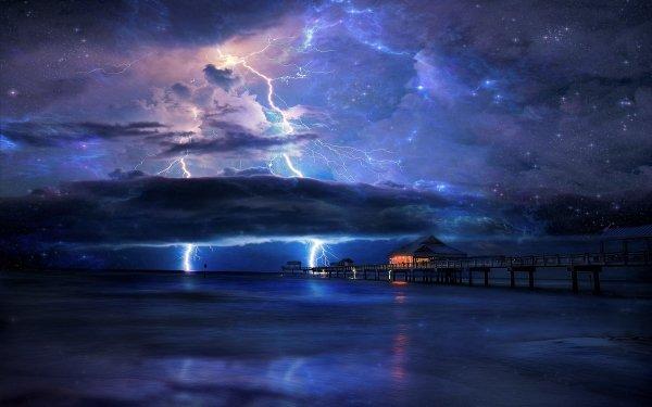 Artistic Sky Pier Ocean Sea Nebula Lightning Cloud Horizon HD Wallpaper | Background Image