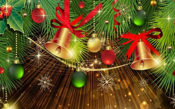 Holiday Christmas Decoration Bell Golden HD Wallpaper | Background Image