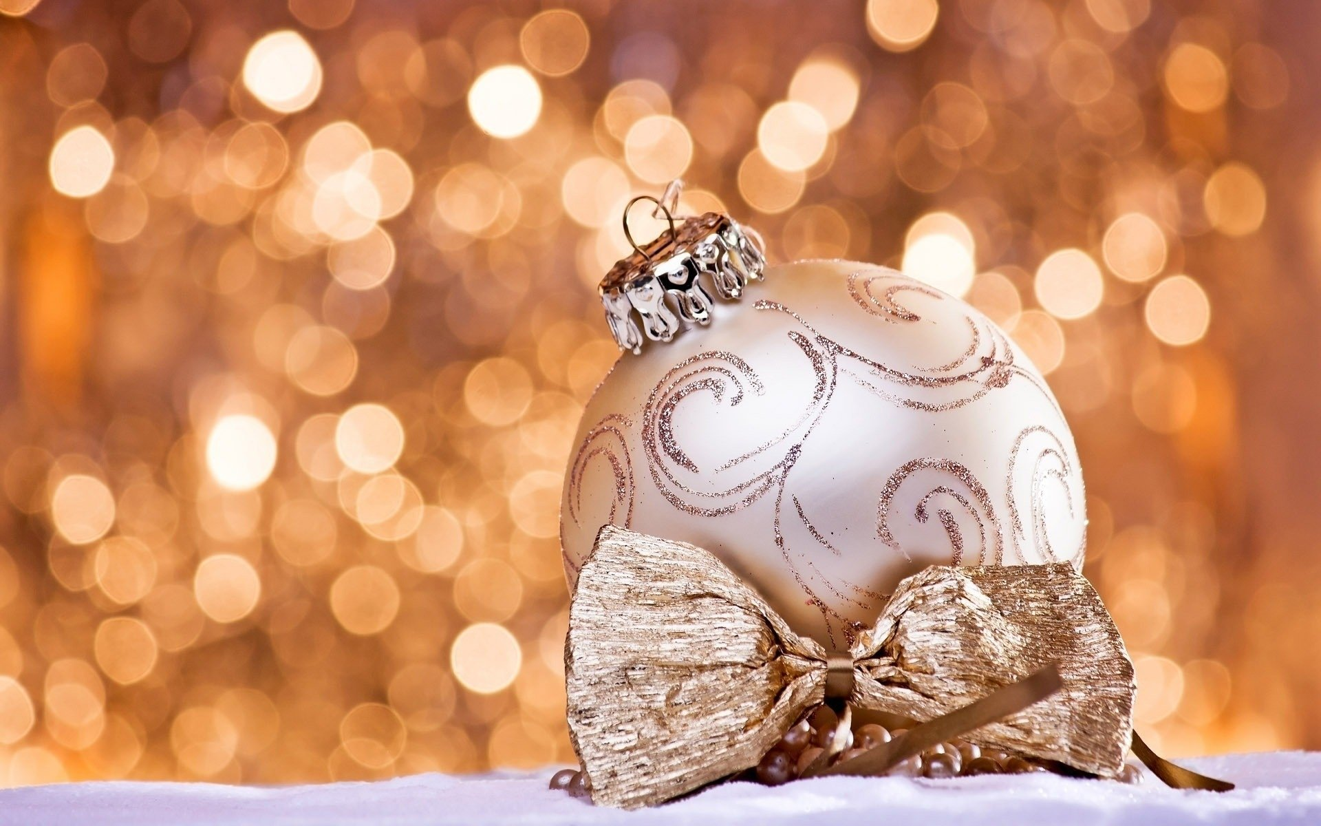 Holiday - Christmas  Decoration Bauble Bokeh Golden Wallpaper