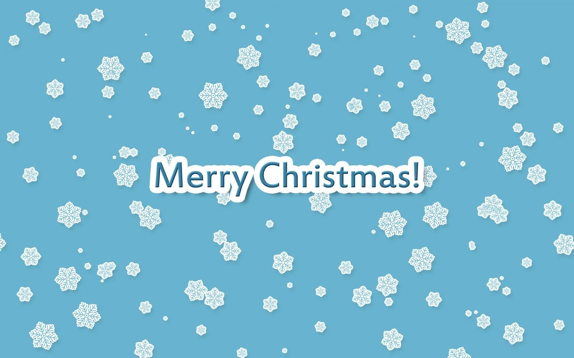 节日 - 圣诞节  蓝色 雪花 Merry Christmas 壁纸