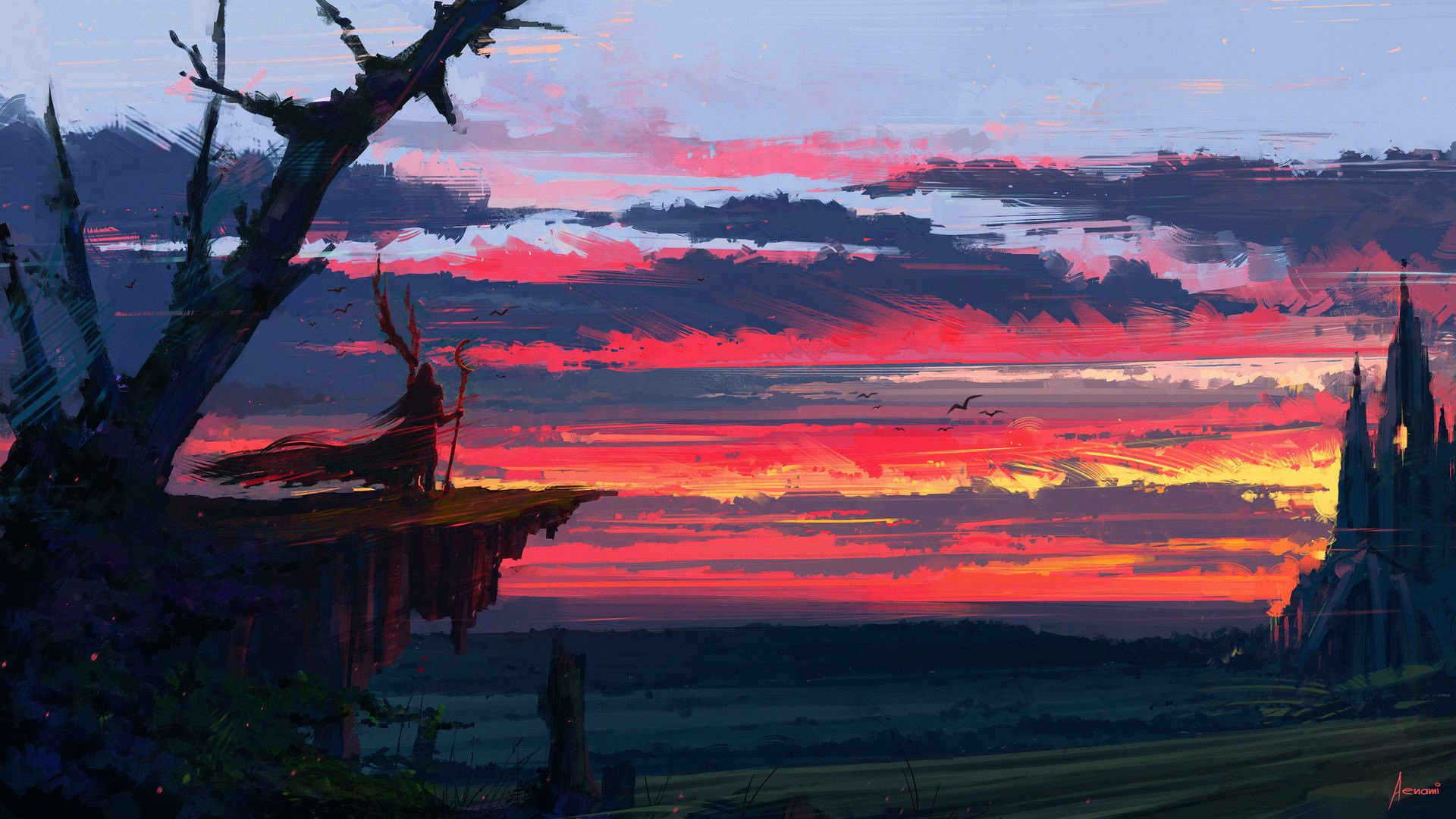 Fantasy - Landscape  Cloud Sunset Staff Wallpaper