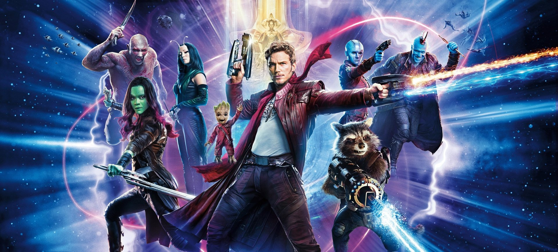 Movie - Guardians of the Galaxy Vol. 2  Chris Pratt Star Lord Peter Quill Zoe Saldana Gamora Vin Diesel Baby Groot Groot Rocket Raccoon Bradley Cooper Mantis (Marvel Comics) Pom Klementieff Yondu Udonta Michael Rooker Ayesha (Guardians Of The Galaxy) Elizabeth Debicki Nebula (Marvel Comics) Karen Gillan Drax The Destroyer Dave Bautista Guardians of the Galaxy Wallpaper