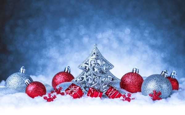Holiday Christmas Christmas Ornaments Gift Red Snow Silver Bokeh HD Wallpaper | Background Image
