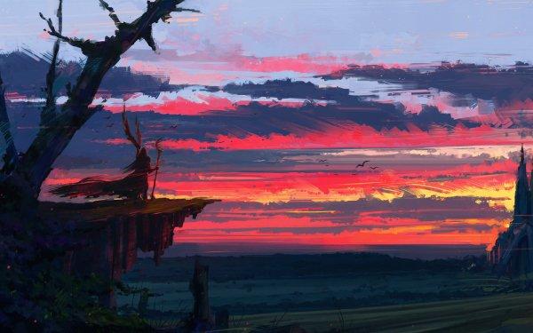 Fantasy Landscape Cloud Sunset Staff HD Wallpaper | Background Image