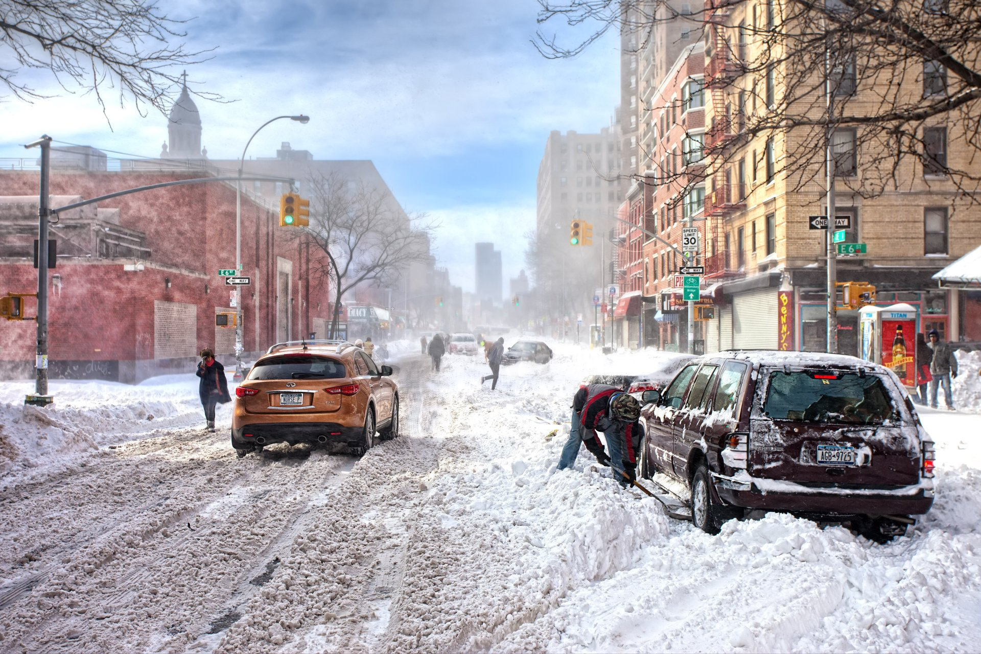 Photography - Winter  Photography Snow Snowfall City Building Car People Wallpaper