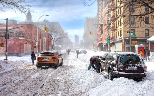 Photography Winter Snow Snowfall City Building Car People HD Wallpaper | Background Image