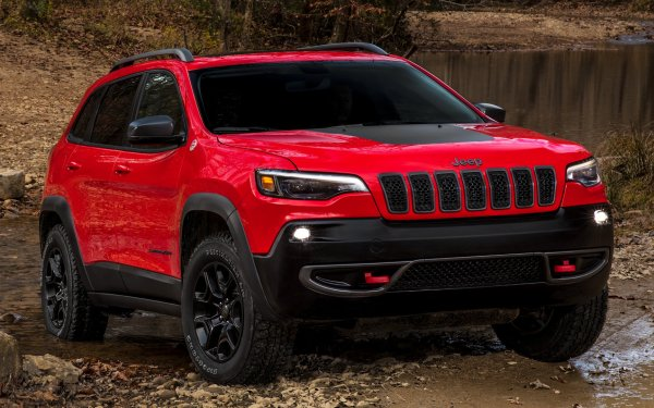 Vehicles Jeep Cherokee Jeep Jeep Cherokee Trailhawk Crossover Car SUV Red Car Car HD Wallpaper | Background Image