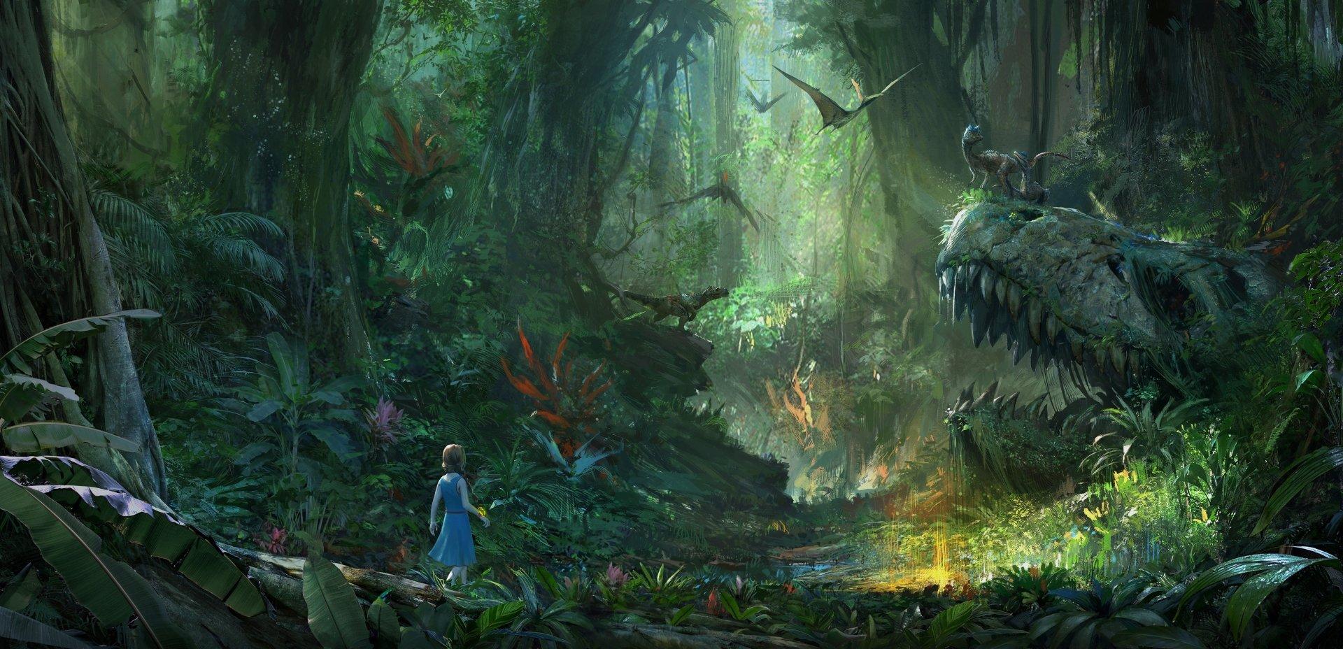 Video Game - ARK Park  Child Girl Dinosaur Forest Jungle Wallpaper
