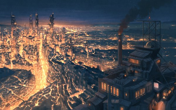 Anime Original Factory City Lava HD Wallpaper | Background Image