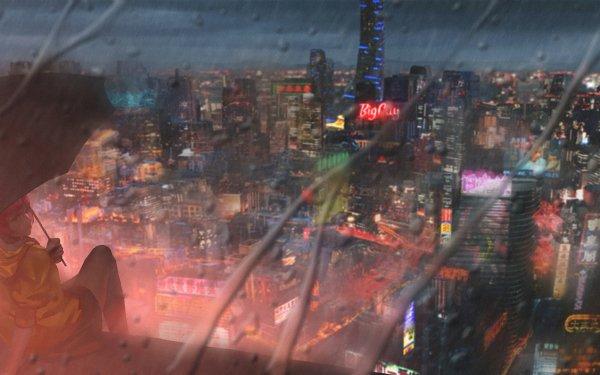 Anime Original Rain Umbrella City Building Night Neon Sign HD Wallpaper | Background Image