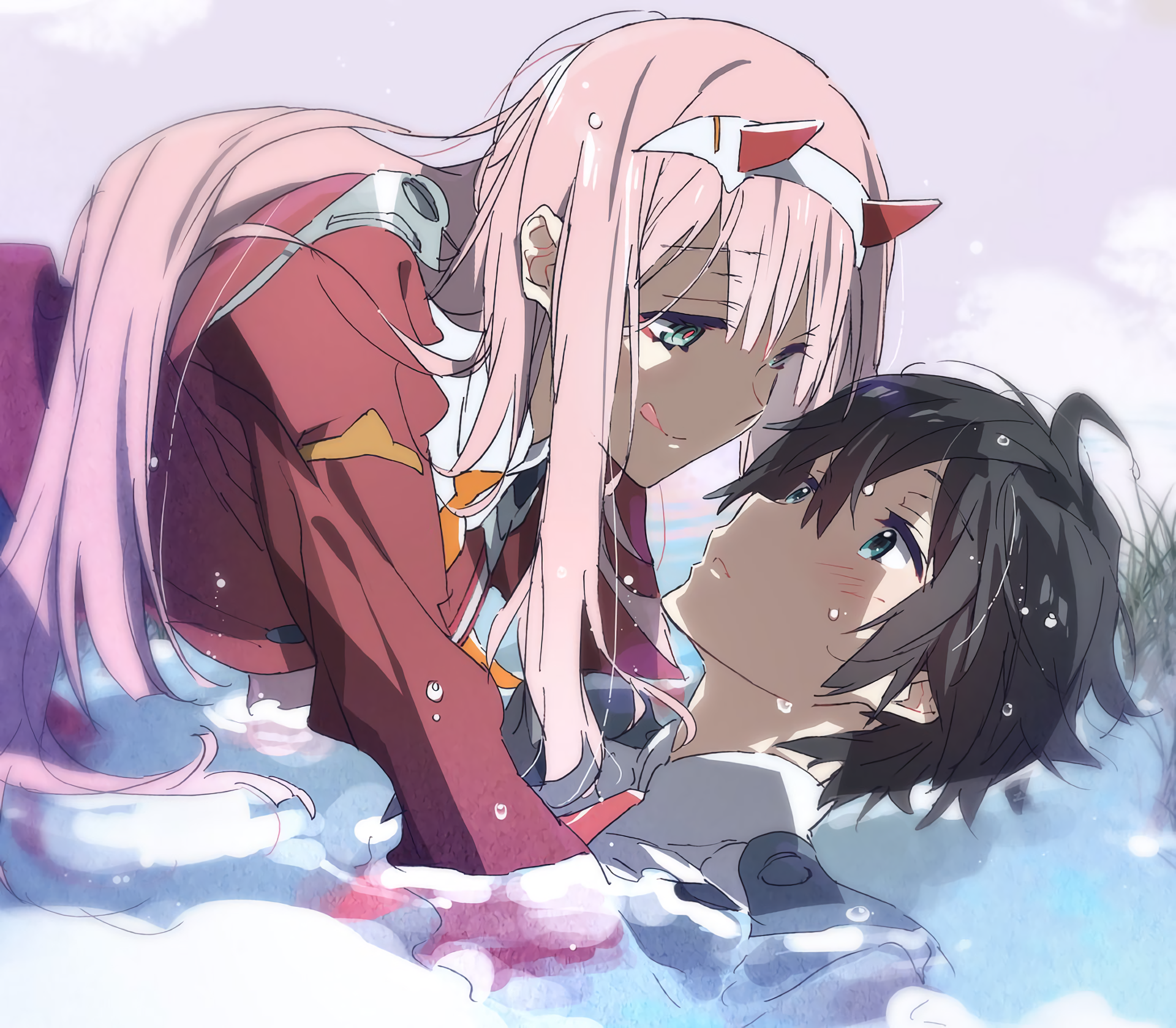 Anime - Darling in the FranXX  Zero Two (Darling in the FranXX) Hiro (Darling in the FranXX) Wallpaper