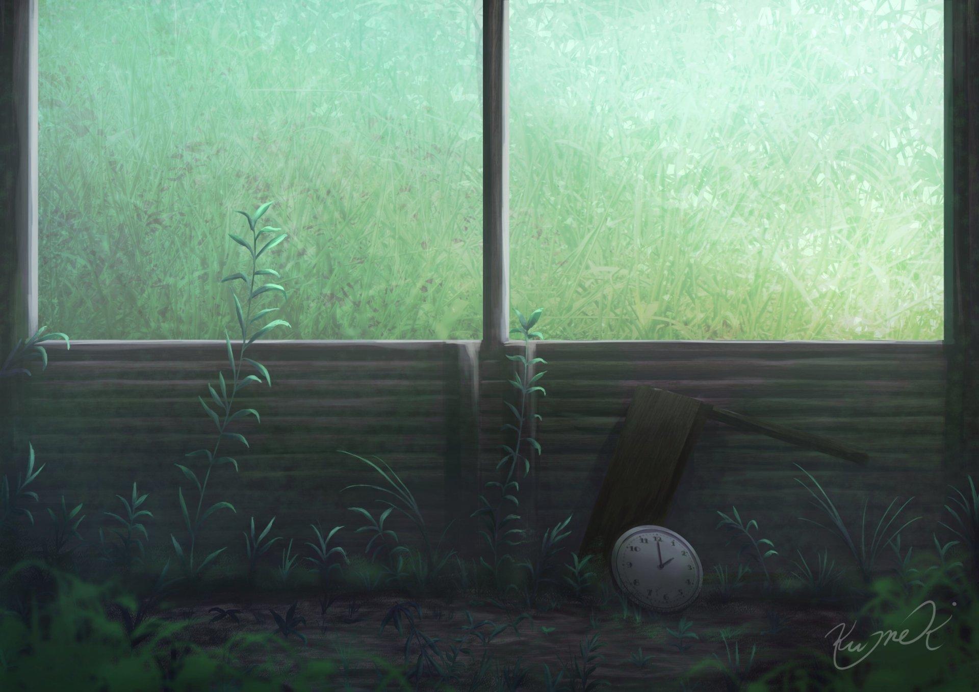 Anime - Original  Grass Window Plant Wallpaper