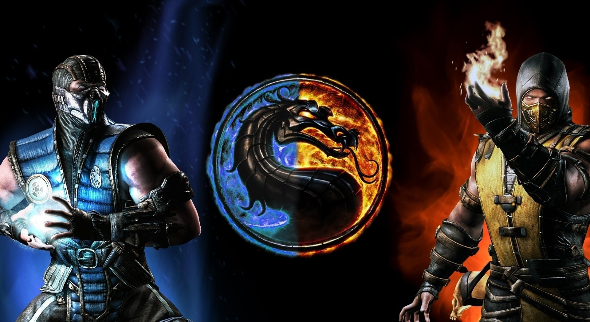 Video Game - Mortal Kombat  Scorpion (Mortal Kombat) Dragon Emblem Sub-Zero (Mortal Kombat) Logo Fire Wallpaper