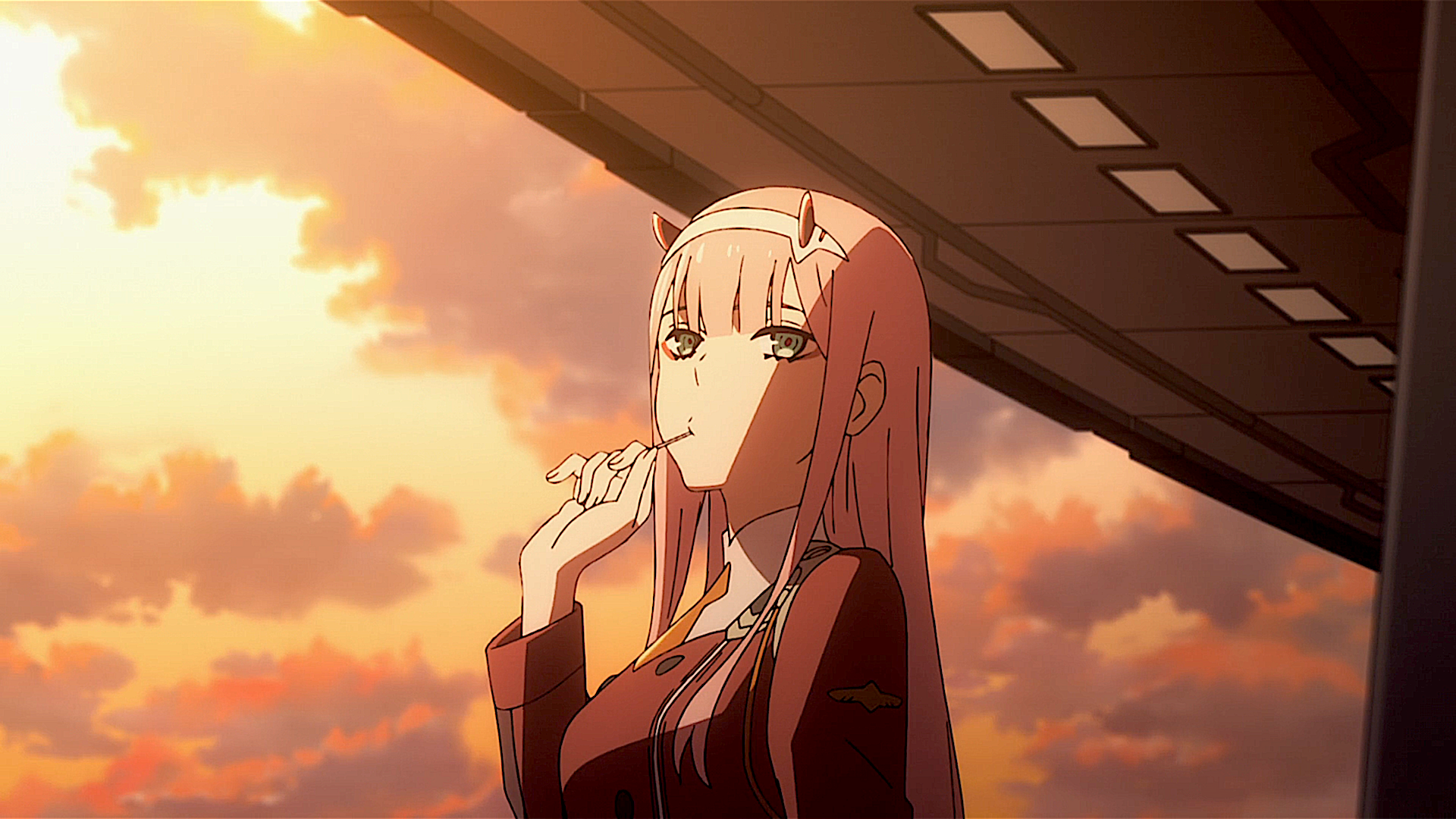 动漫 - Darling in the FranXX  Zero Two (Darling in the FranXX) Lollipop Military Uniform Green Eyes Horns 动漫 Pink Hair 壁纸