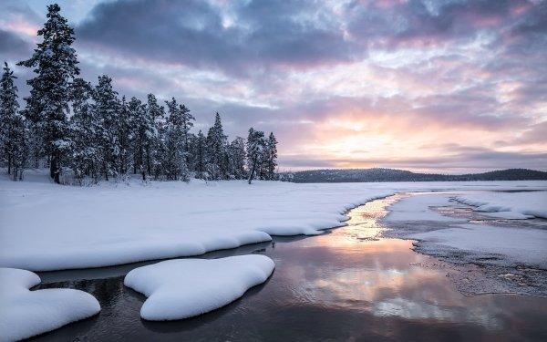 Earth Winter Nature Snow Landscape Cloud Stream HD Wallpaper | Background Image