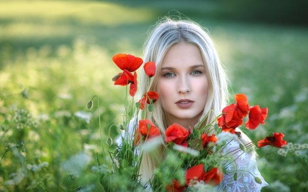 Women Model Models Blonde Green Eyes Poppy Flower Red Flower Depth Of Field Summer HD Wallpaper | Background Image