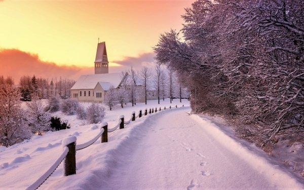 Fotografía Invierno Carretera Snow Edificio Iglesia Árbol Fondo de pantalla HD | Fondo de Escritorio
