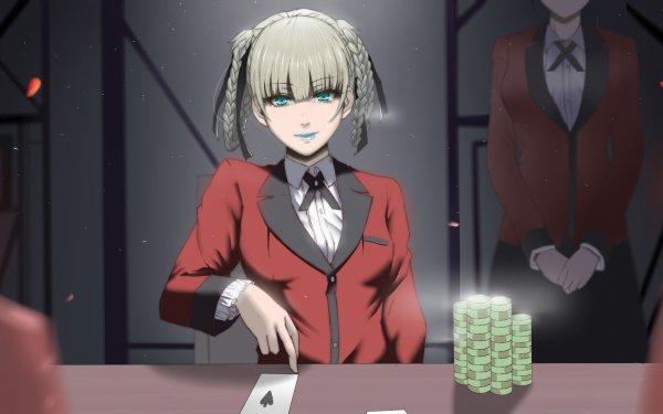 Anime Kakegurui Kirari Momobami White Hair Short Hair Braid Blue Eyes HD Wallpaper | Background Image
