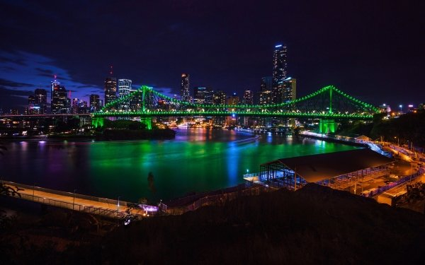 Man Made Brisbane Cities Australia Night Bridge Building Skyscraper Story Bridge HD Wallpaper | Background Image