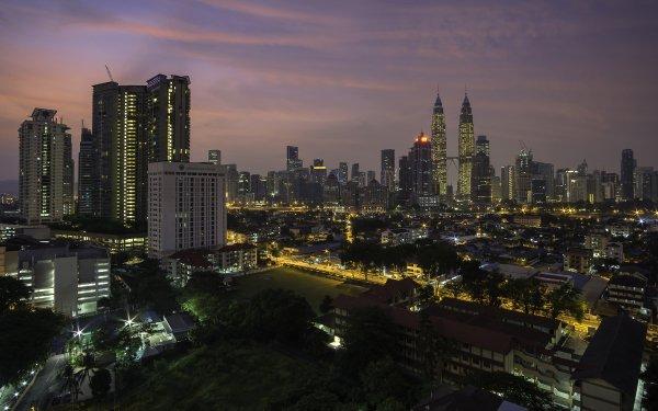 Man Made Kuala Lumpur Cities Malaysia Night City Building Skyscraper Petronas Towers HD Wallpaper | Background Image
