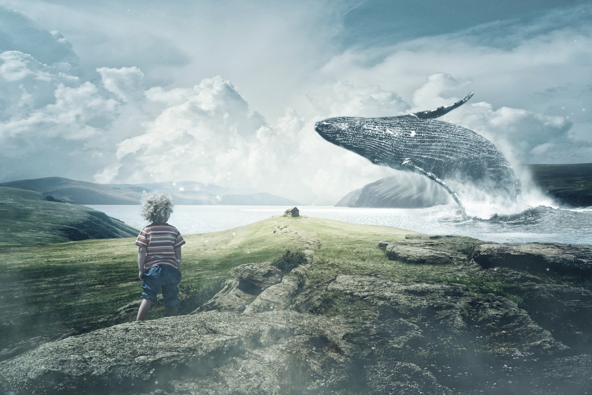 Photography - Manipulation  Boy Child Whale Landscape Wallpaper