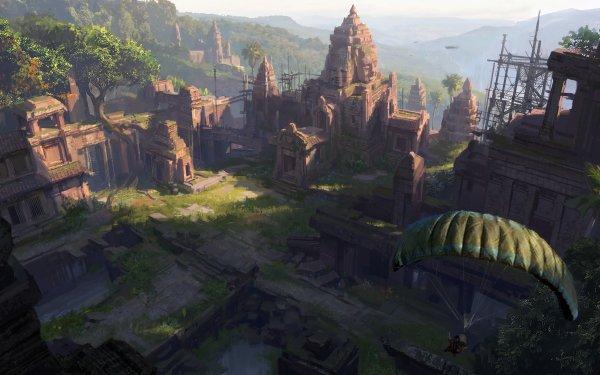 Fantaisie Ruine Paysage Parachuting Temple Fond d'écran HD | Image