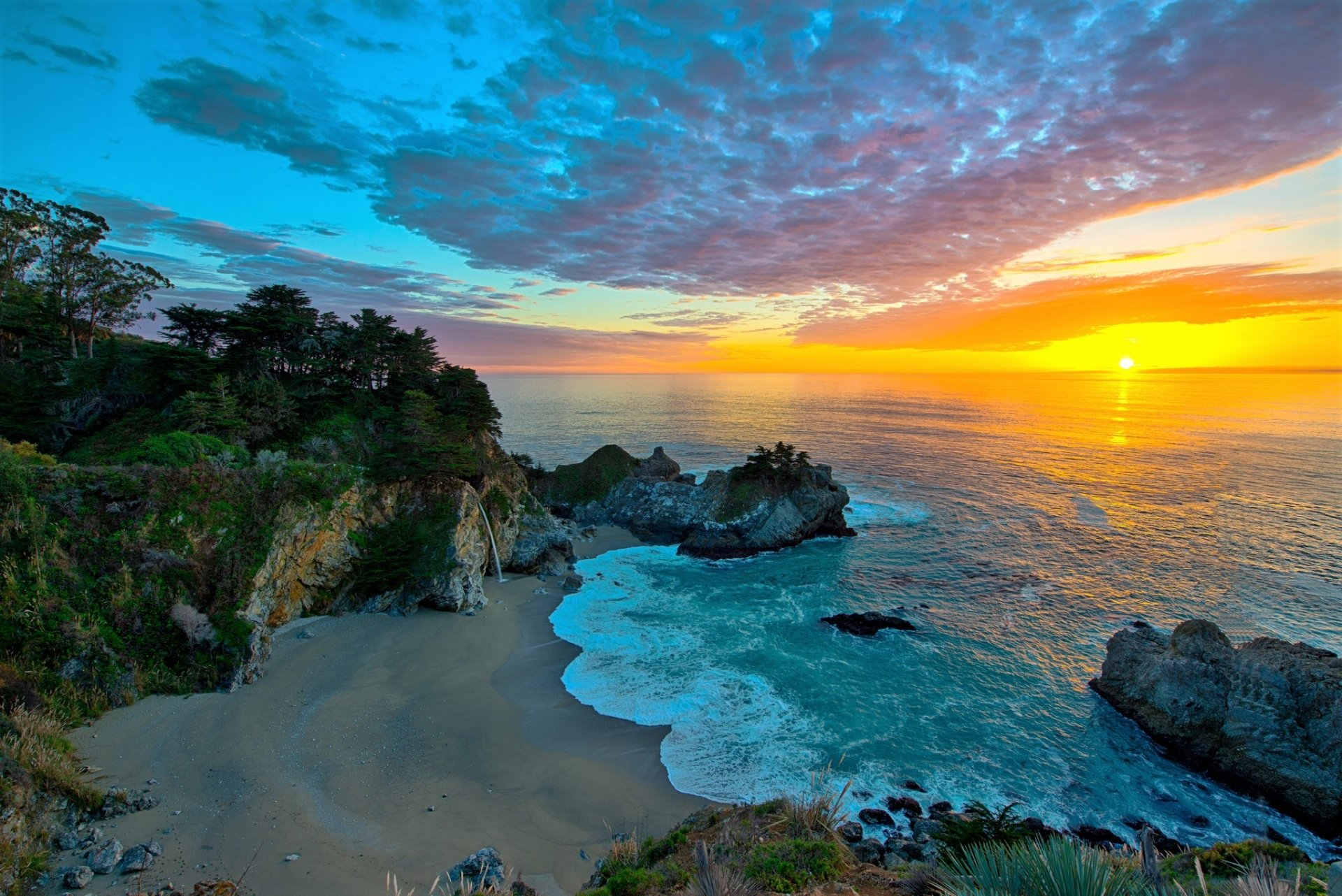 Earth - Big Sur  Earth Sunset McWay Falls California Rock Ocean Sea Horizon Wallpaper