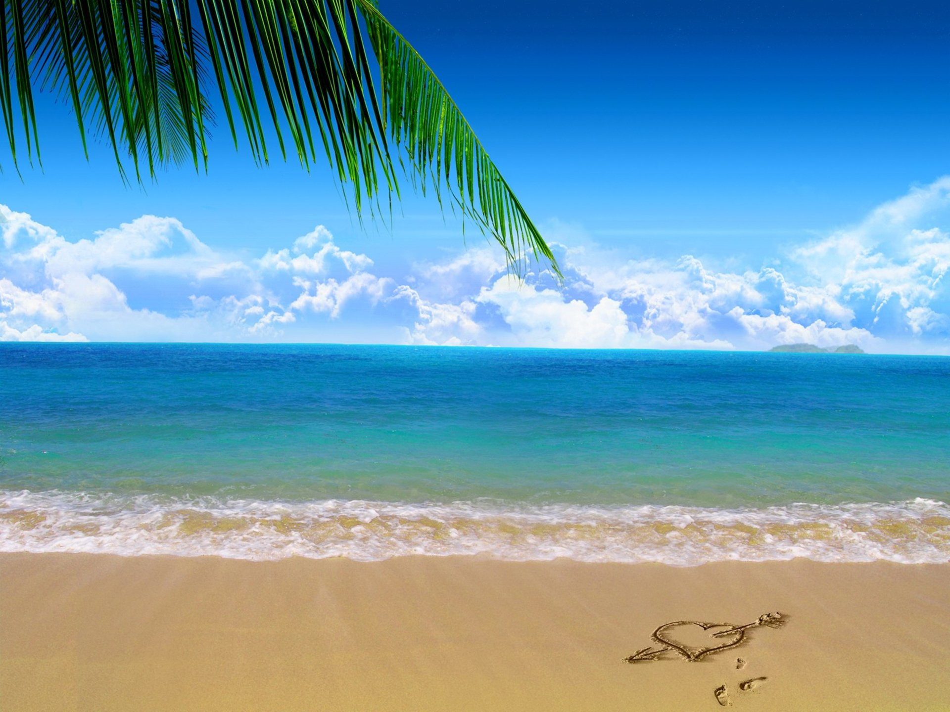 Earth - Beach  Nature Palm Tree Sand Sea Heart Cloud Horizon Wallpaper