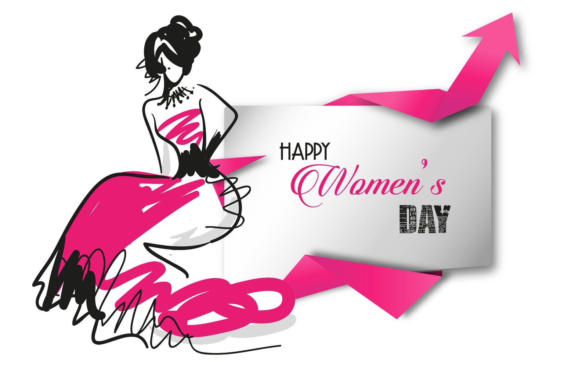 Feriados - Women's Day  Woman Garota Declaração Happy Women's Day Papel de Parede