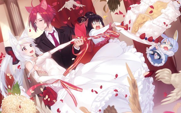 Anime Original Bride Cake Wedding Groom Animal Ears White Hair Pink Hair HD Wallpaper | Background Image