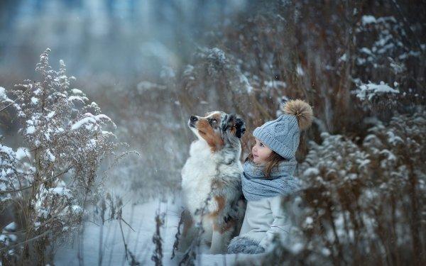 Photography Child Winter Little Girl Hat Dog Australian Shepherd Pet HD Wallpaper   Background Image