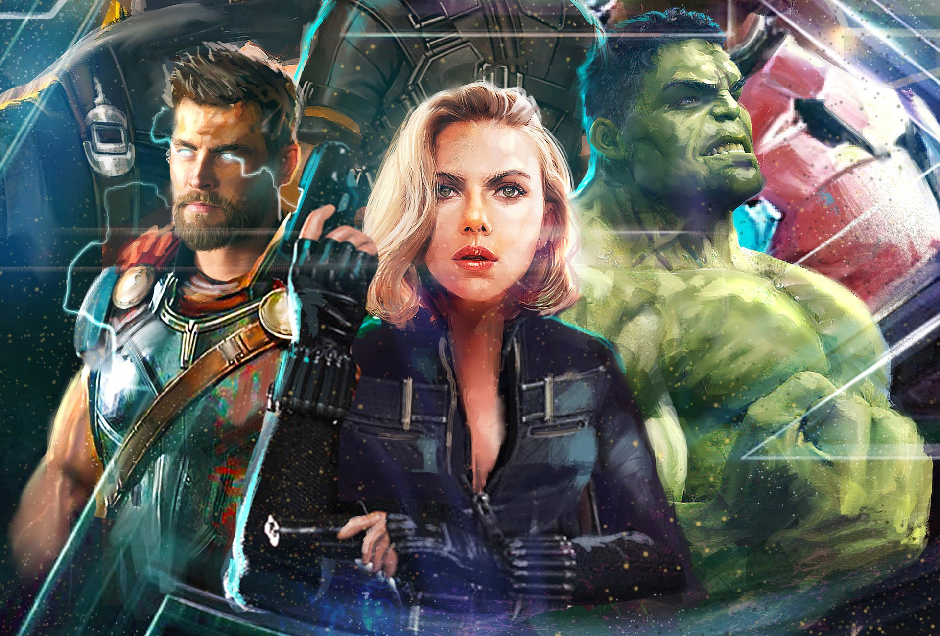 Movie - Avengers: Infinity War  Hulk Black Widow Thor Wallpaper