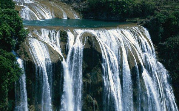 Earth Waterfall Waterfalls Nature Rock Water Vegetation HD Wallpaper   Background Image
