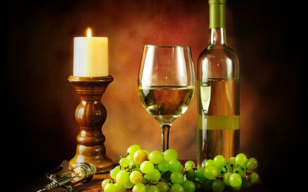 Photography Still Life Wine Grapes Candle Glass Corkscrew HD Wallpaper | Background Image