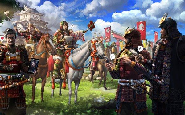 Anime Original Samurai Warrior Humor Horse Selfie HD Wallpaper | Background Image