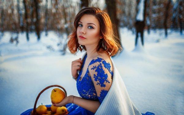 Women Model Models Woman Blue Dress Redhead Blue Eyes Winter Depth Of Field Fruit Pear HD Wallpaper | Background Image