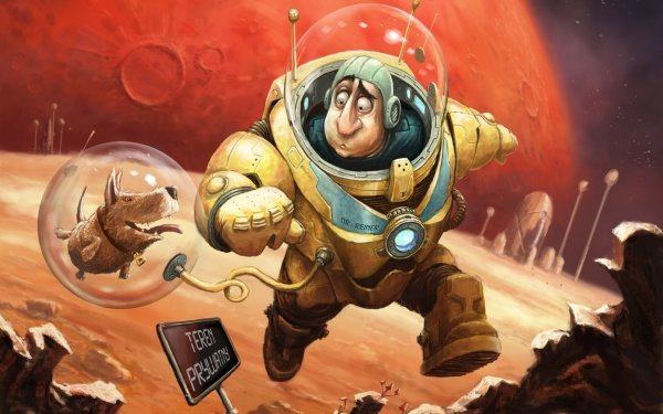 Sci Fi Astronaut Dog Space Suit HD Wallpaper | Background Image