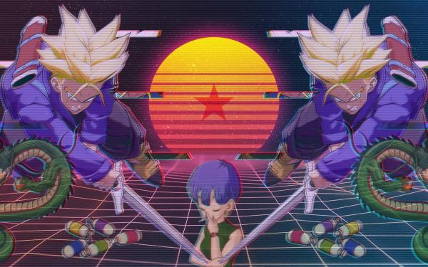 Anime Dragon Ball Z Dragon Ball Dragon Ball Super Trunks Vaporwave Bulma Fond d'écran HD | Arrière-Plan