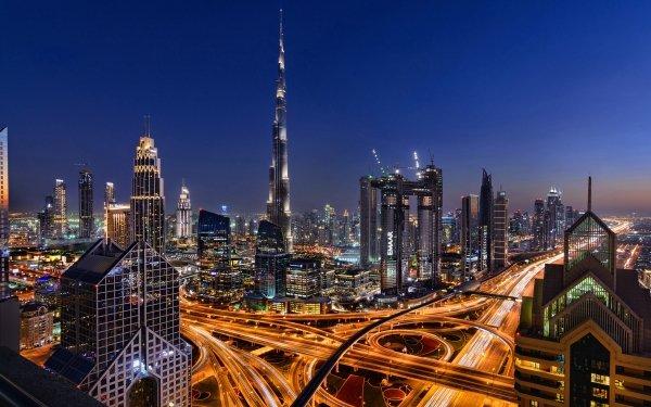 Man Made Dubai Cities United Arab Emirates Night Light City Skyscraper Highway HD Wallpaper | Background Image