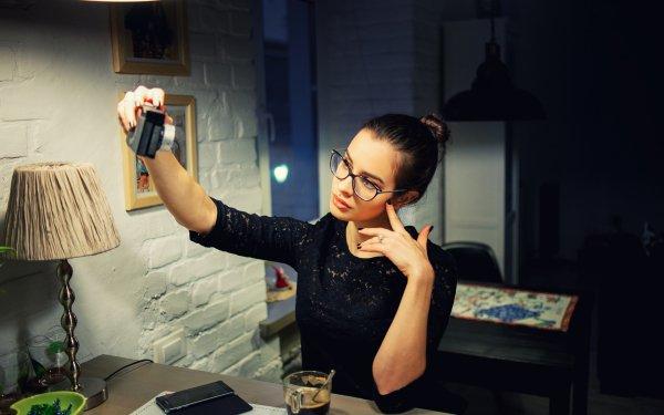 Women Mood Model Brunette Camera Glasses Smartphone HD Wallpaper | Background Image